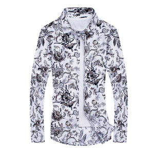 Fashion Collar Floral Long-Sleeved Shirt 3279