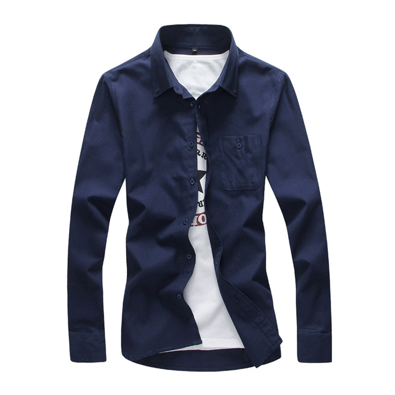 Fashion Solid Color Wild Men'S Long-Sleeved Shirt 4993