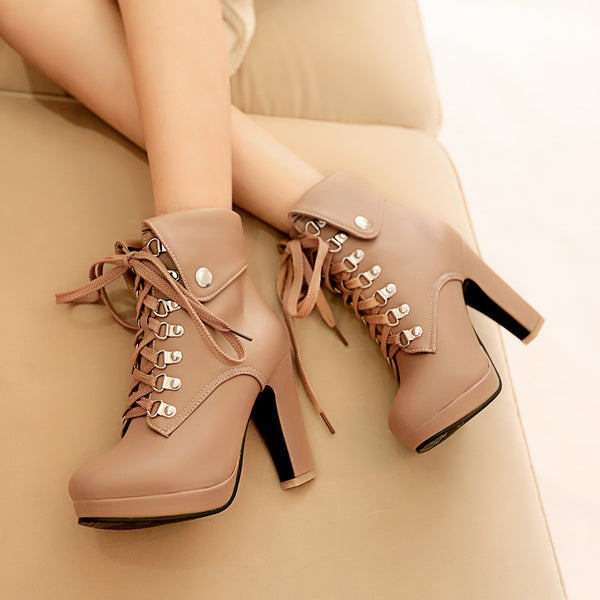 Lace Up Platform Short Motorcycle Boots Plus Size Women Shoes 9729