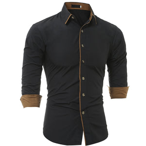 Autumn and Winter New Classic Color Personalized Striped Men'S Casual Slim Long-Sleeved Shirt 6525