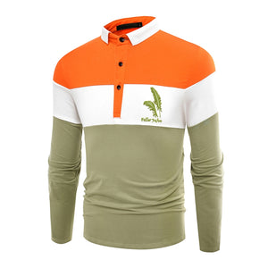 Fashion Business Cotton Mixed Color Men'S Lapel Long Sleeve POLO Shirt Men T Shirt 9634