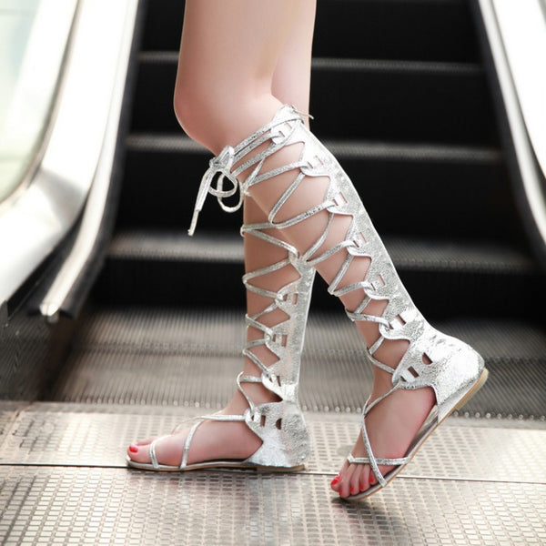 Strappy Gladiator Sandals Flat Summer Boots for Women 3721