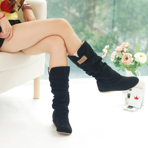 Suede Cotton Lacing Knee High Boots 2410