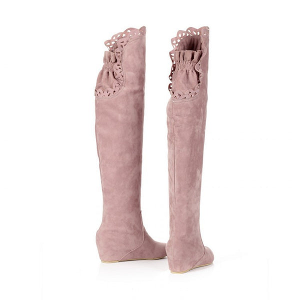 Hollow Out  Over the Knee Boots Wedge Heel for Women 1093