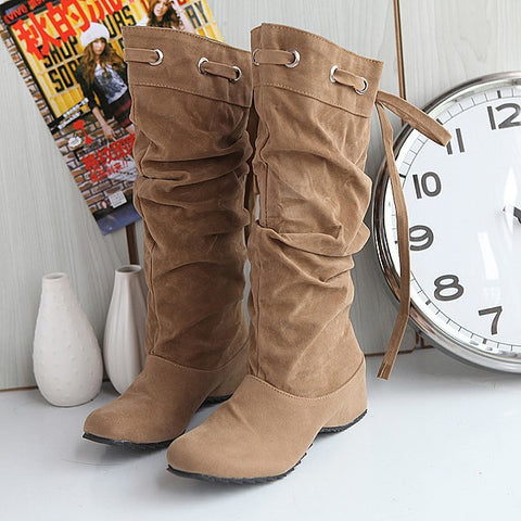 Straps Wedge Knee High Boots for Women 7373