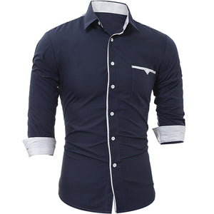 Patch Pocket Trim Men'S Casual Slim Long-Sleeved Shirt 3007