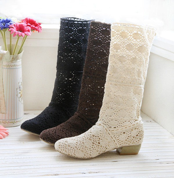 Hole Mid Calf Boots for Summer 8476