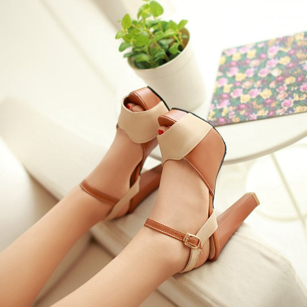 Mix Color Ankle Straps Platform Sandals High Heels Shoes Woman 2126