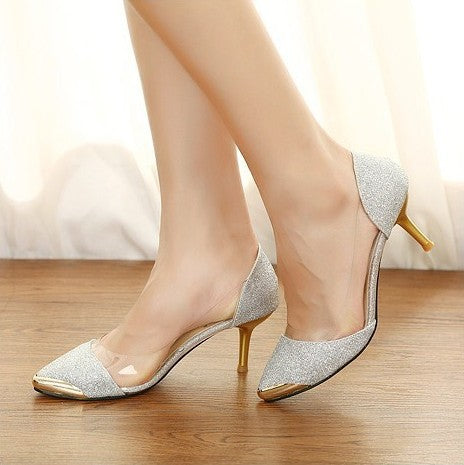 Pointed Toe Sequin High Heels Spike Shoes 3671