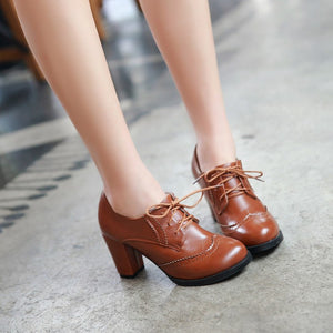 Lace Up High Heels Women Chunky Heel Shoes 2492