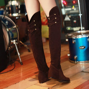 Suede Studded Over the Knee Boots Wedge Heels Shoes for Woman 7687