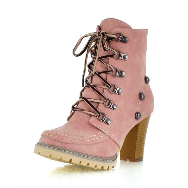Women's Lace Up Ankle Boots High Heels Motorcycle Boots Shoes 6767