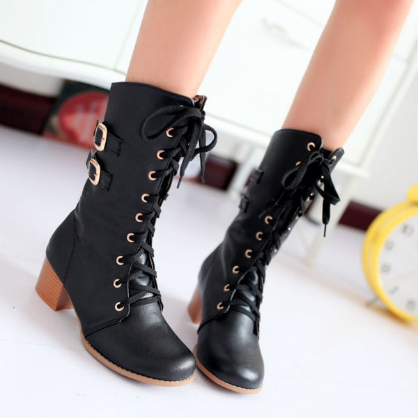 Lace Up Mid Calf Motorcycle Boots Low Heels 6187