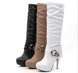 Rhinestone Belt Buckle High Heels Platform Tall Boots for Women 1292