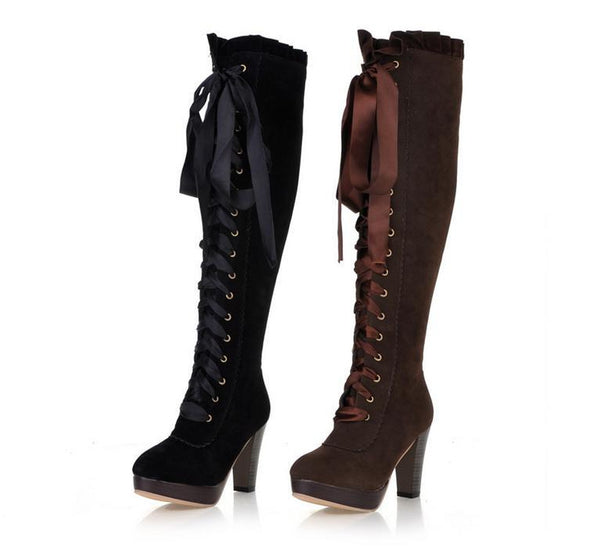 Velvet Strappy High Heels Tall Boots for Women 5837