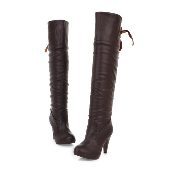 Back Straps High Heeled Tall Boots for Women 3376