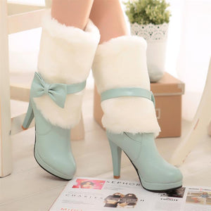 Fur Bow Tie Mid Calf Boots High Heel Snow Boots 4919