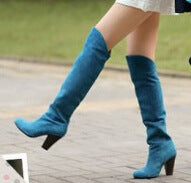 Faux Suede Knee High Boots Chunky Heel 3524