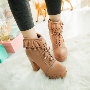 Sweet Chunky Heeled Lace Up Short Boots Plus Size Women Shoes 6573