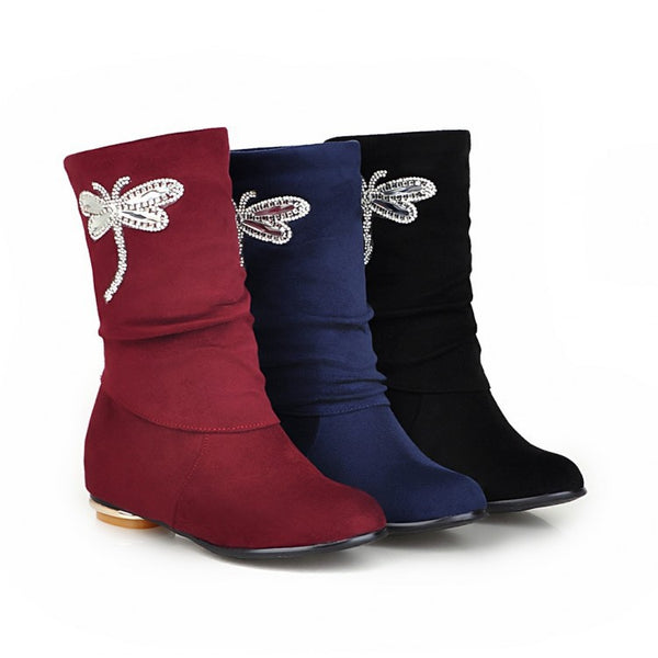 Rhinestone Butterfly Decoration Mid Calf Boots 6025