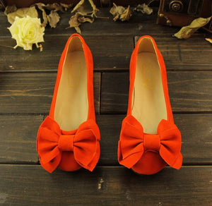 Round Toe Bow Suede Flat Shoes Women 1894
