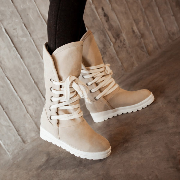 Lace Up Flats Snow Boots for Women 1734