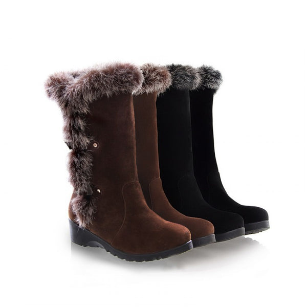 Rabbit Fur Snow Boots Wedge Heel 8342