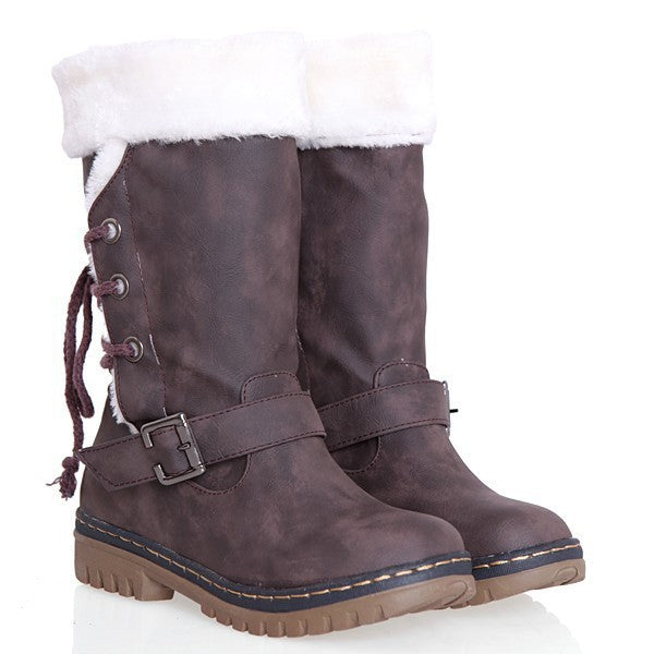 Belt Buckle Lace Up Snow Boots 8105