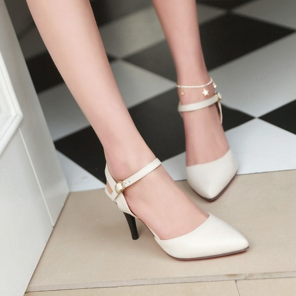 Covered Toe Ankle Straps Women Mid Heels Shoes 7412