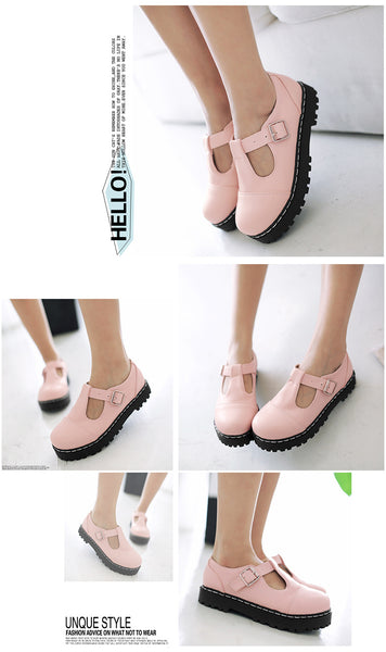 T Straps Buckle Women Flat Platform Shoes 5962