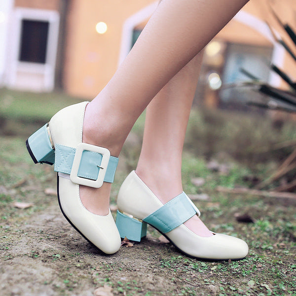 Buckle Women Mid Square Heels Shoes 7481