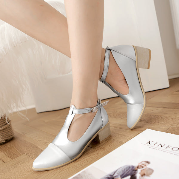 Pointed Toe T Straps Women Mid Heels Shoes 3165