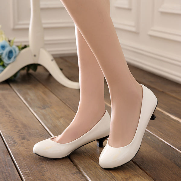 Women Pumps Mid Chunky Heels Shoes 2970