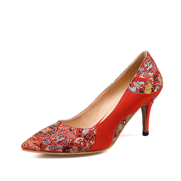 Pointed Toe Flower Printed Red Pumps Women Stiletto High Heels Shoes 5806