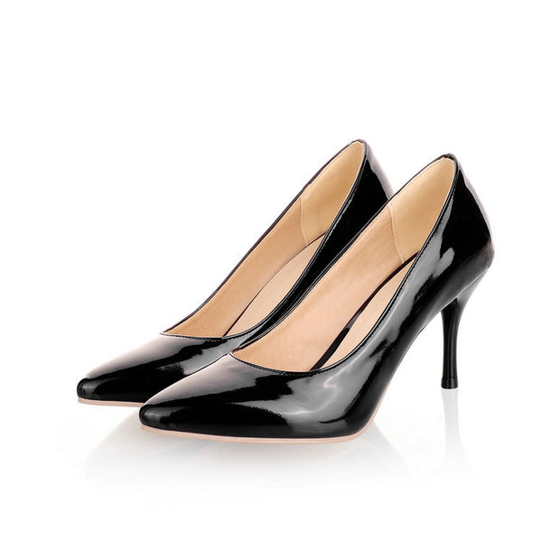 Patent Leather Pointed Toe Pumps Women Stiletto High Heels Shoes 9903
