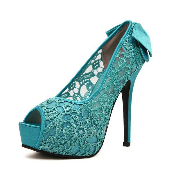 Hollow Out Peep Toe Platform Pumps High Heels with Bowtie 7502