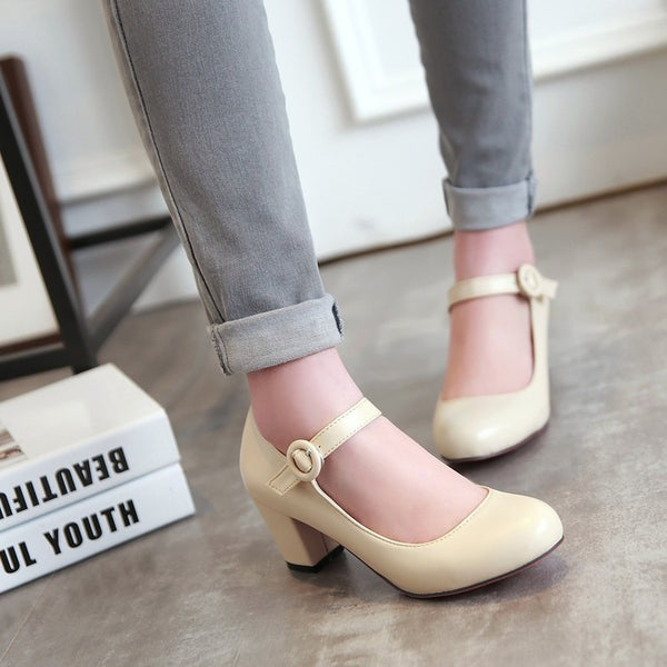 Women's Ankle Straps Round Toe Chunky Heels Shoes 1060