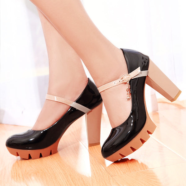 Women's Ankle Straps High Heel Platform Pumps Shoes 6991