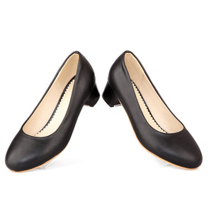 Round Toe Women Pumps Mid Chunky Heels Shoes 7200