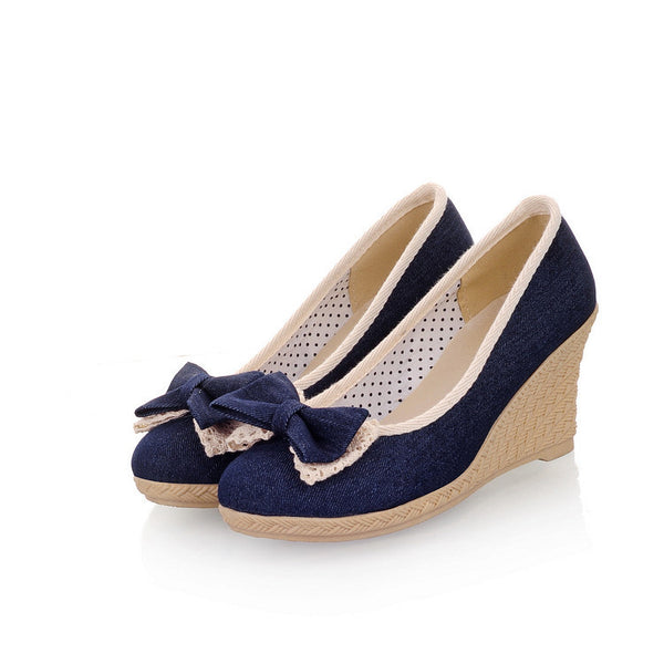 Denim Bow Women's Wedge High Heel Pumps Shoes 5102