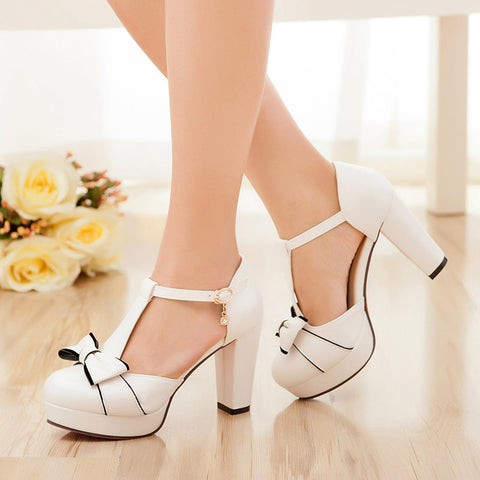 Bowtie T Straps Platform Sandals High Heels Shoes Woman 4096