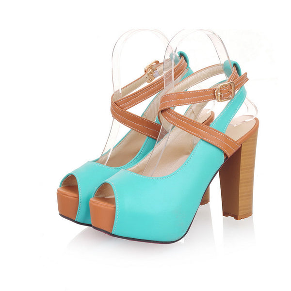 Ankle Strap Peep Toe Platform Sandals Chunky High Heels Shoes Woman 6083