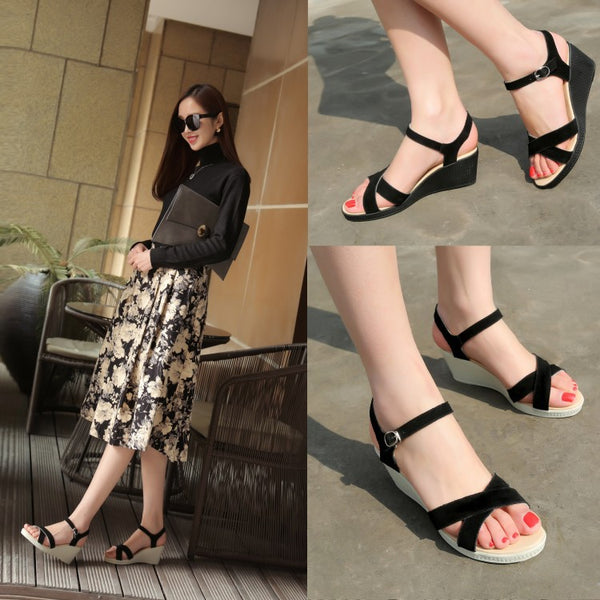 Genuine Leather Women Sandals Wedge Heels Shoes for Summer 2673