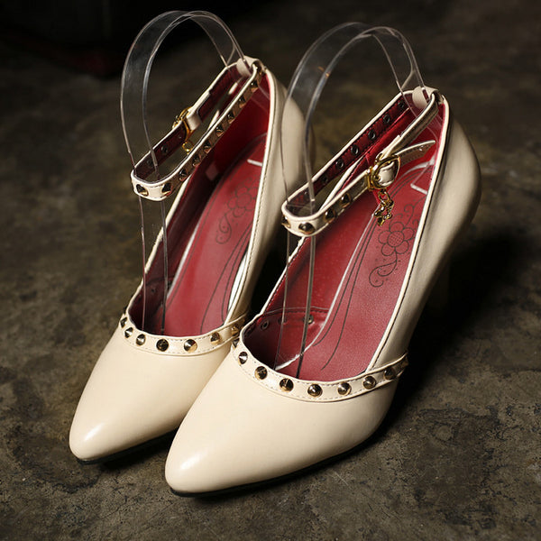Pointed Toe Ankle Straps Studded High Heels Women Shoes 9059