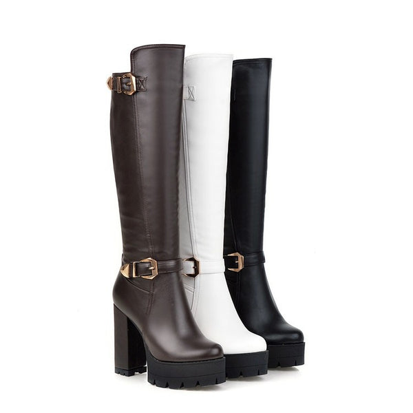 Pu Leather Tall Motorcycle Boots for Women 2195