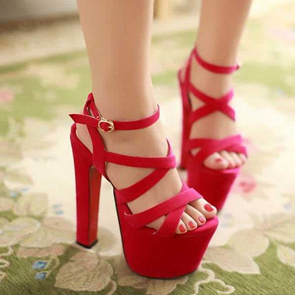 Ankle Strap Platform Sandals Extreme High Heels Shoes Woman 9771