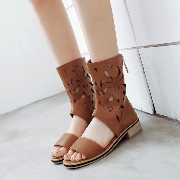 Hollowed Out Fish Mouth Summer Boots Sandals 1107