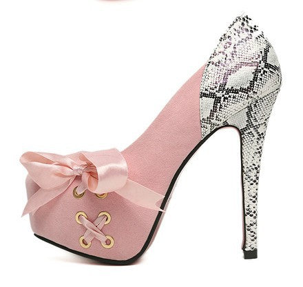 Ribbon Bowtie High Heels Platform Pumps 4534