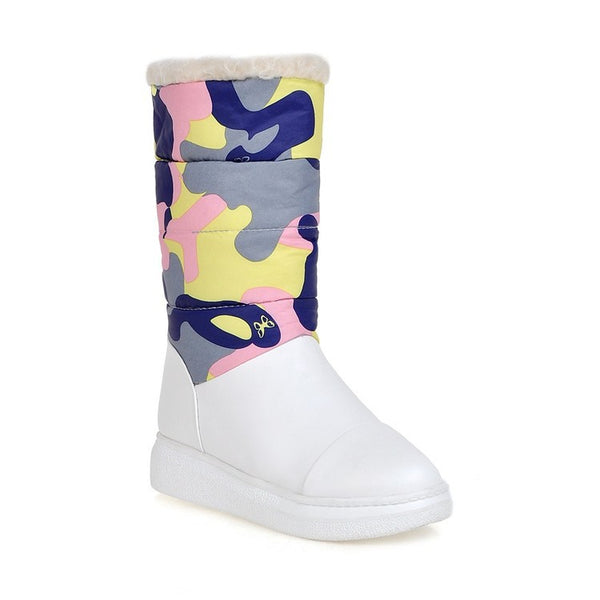 Flower Printed Down Snow Boots Platform Shoes 7189