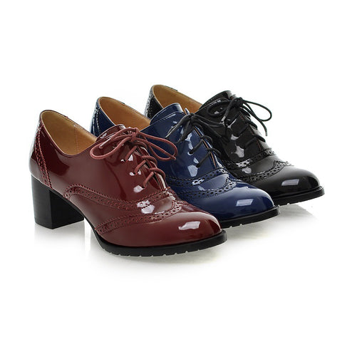 Lace Up Patent Leather Women Chunky Mid Heels Oxford Shoes 8154